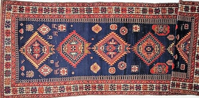 Antique Russian Kazak: 466 x 160 cm.