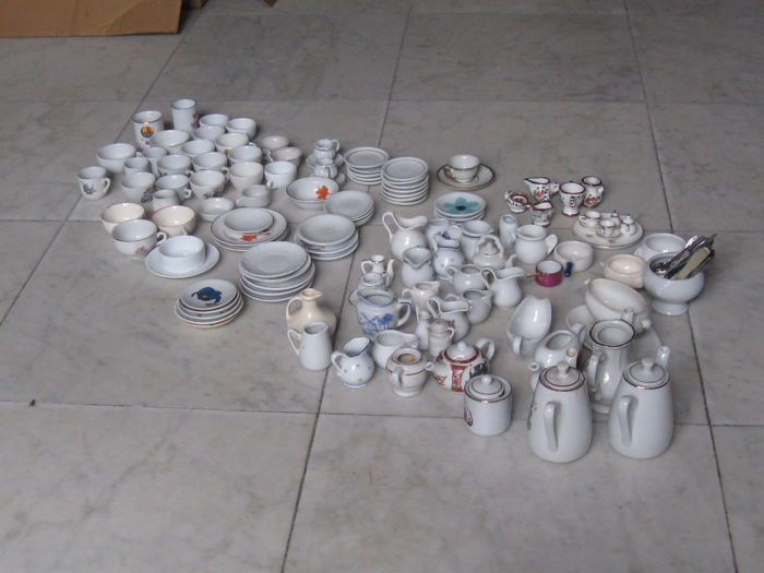 Collection of antique and old doll house crockery parts