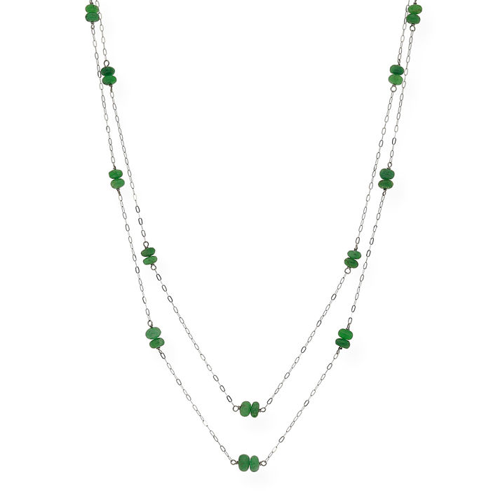White gold 18 kt - Choker - Cabochon emeralds - Length 46 cm