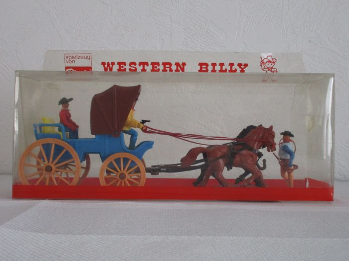 Large lot Plasty (collection Western Billy, Germany - 1960s-1970s) - Wild west: numerous cowboys, indians, cavalery and Western houses