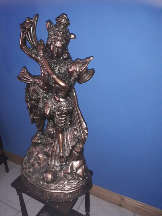 Lare statue of Laksmi and Narayan (65 cm) - India - late 20th century