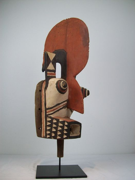 Anthropomorphic Mask, HOMBO or KOBIE- (Cockerel) BWA Burkina Faso/Africa with Stand