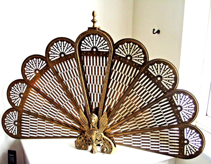 Vintage Brass Gargoyle Fan Fireplace Screen Griffin Peacock Folding Fan, mid 20th century