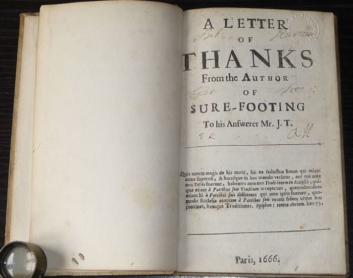 [John Sergeant] - A Letter of thanks from the author of sure-footing - 1666