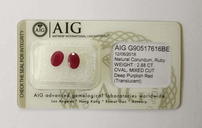 Couple of 2 Ruby Deep Purplish Red 2.88 ct *** No Reserve ***
