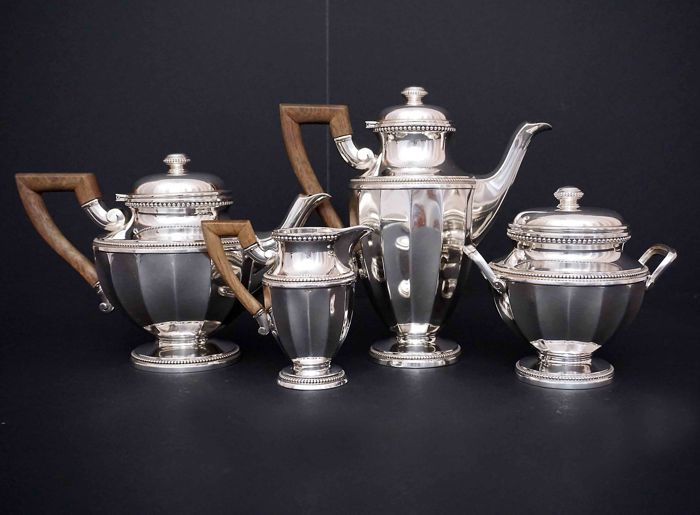 Sterling silver 4 piece service coffee -tea,     -Tetard Freres    -France beg 20th c.