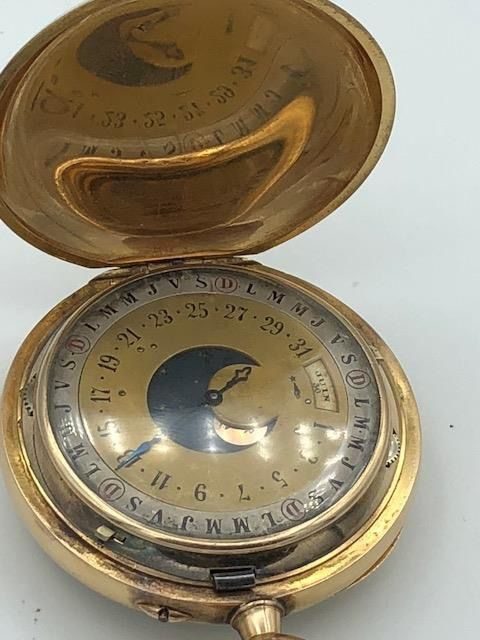 Full date/Moon Phase pocket watch  - Men - 1850-1900