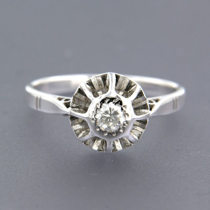 Anillo - Oro blanco - 0.16 ct - Diamante