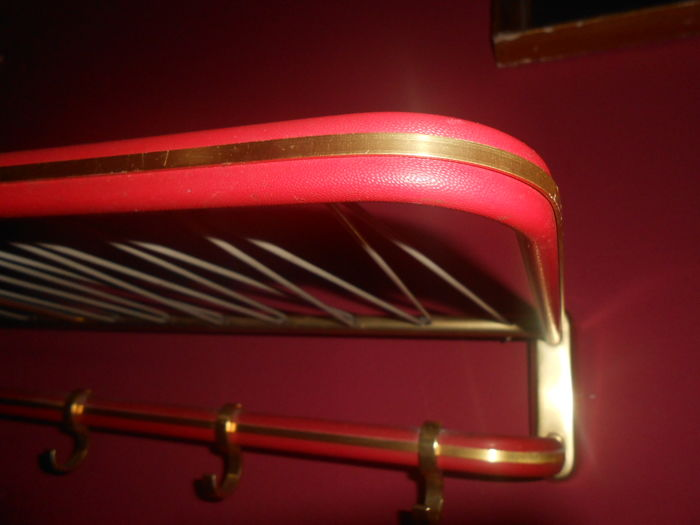 Coat Rack With A Hook Rail And Hat Rack Metal In Gold And Red France Fifties Catawiki