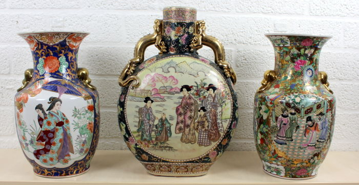 Three richly decorated Chinese vases - late 20th century