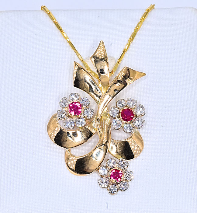Ruby with Diamonds, flower necklace - No Reserve Price