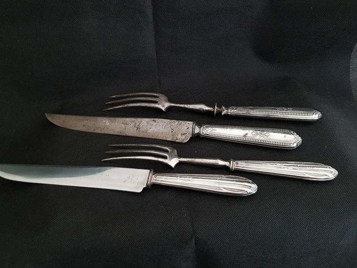 Silver carving set for leg of lam, France, late 19th century / early 20th century