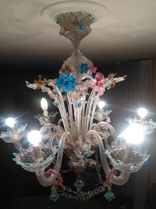 Six light chandelier - Fiorito Rezzonico - made of blown glass and glass paste with wonderful colours - Murano, Italy, late 19th century