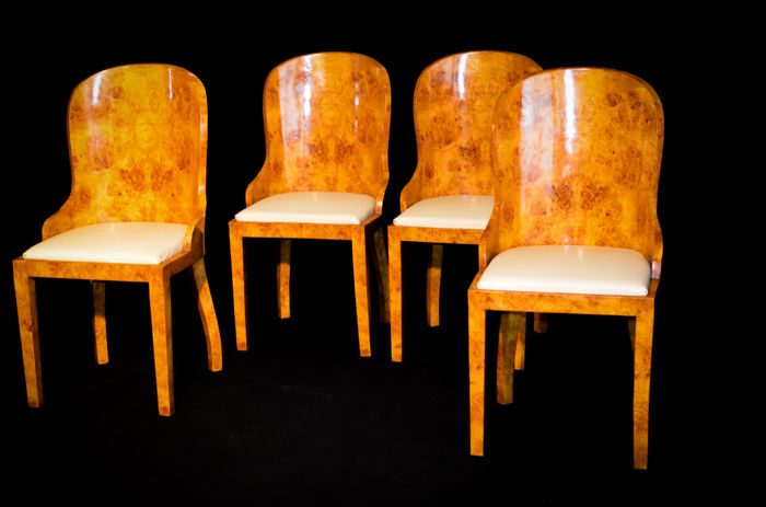 Set of four chairs in Art Deco style - elm wood - France