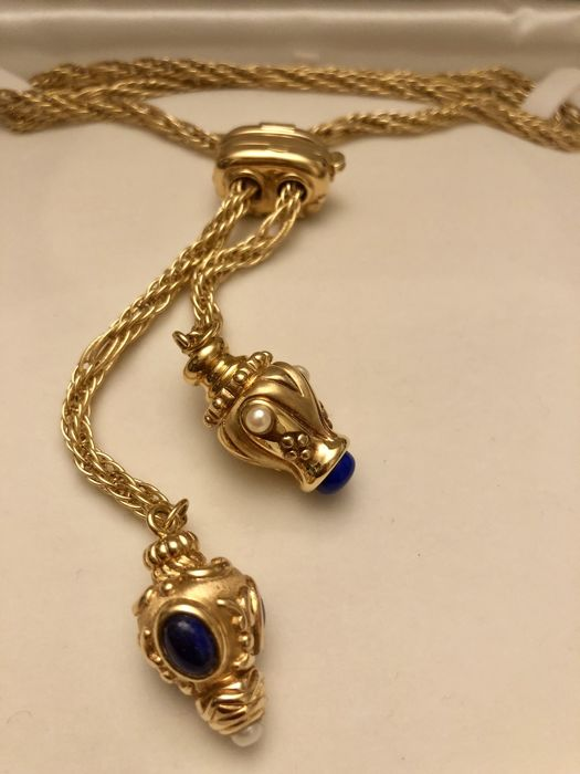 18 kt gold necklace with pearls and cabochon cut, semi-precious stones, weight 32.70 grams