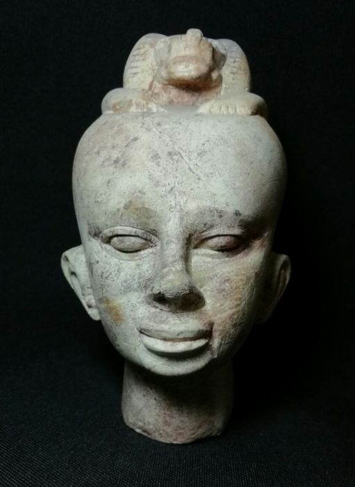 Egyptian Stone Head of a Priest with baboon over it
