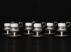 Set of 6 Sterling Silver Coffee Cup & Saucers,  Italy 20th c.