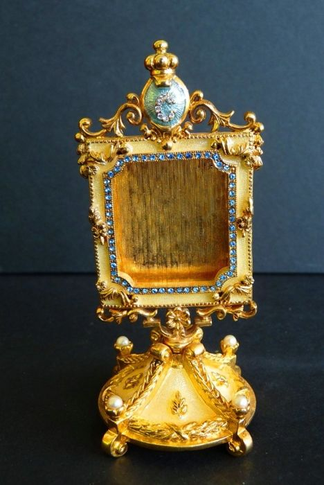 Fabergé Imperial - Collector Photo Frame - 'Danish Jubilee' - Enamel - Rhinestones - 24 Gold plated - Signed