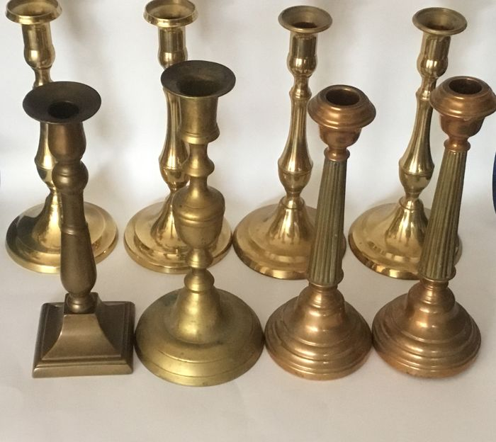 Three sets of candleholders and two loose candlesticks bronze/copper, mid 20th century