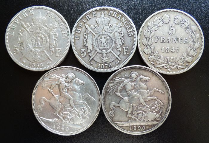 France and United Kingdom - Lot of various coins 1847/1890 (5 different) - Silver