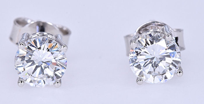 089 Ct Diamond Solitaire Earrings No Reserve Price Catawiki
