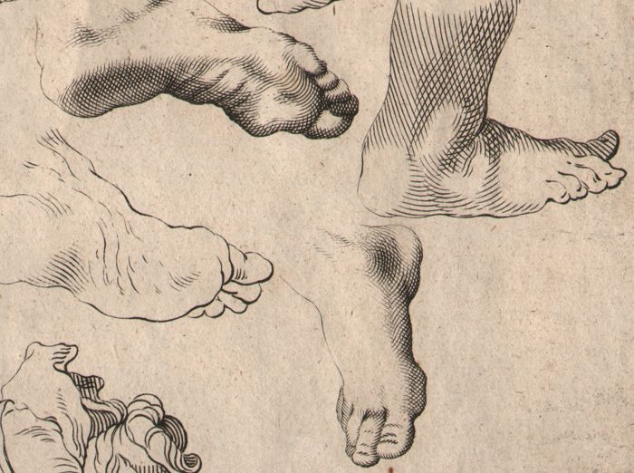 Abraham Bloemaert (1564-1651) - Drawingbook: Study of female heads and feet