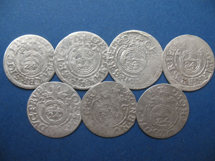 Germany, Lithuania, Poland - 7 Coins 1621-1627 - Silver