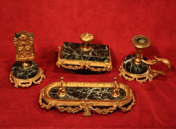 Marble and gilt metal four-piece desk set in Louis XVI style, France, circa 1900