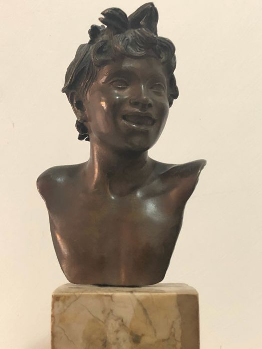Vincenzo Gemito (1852-1929) - a bronze bust of a boy on a marble base - ca. 1920