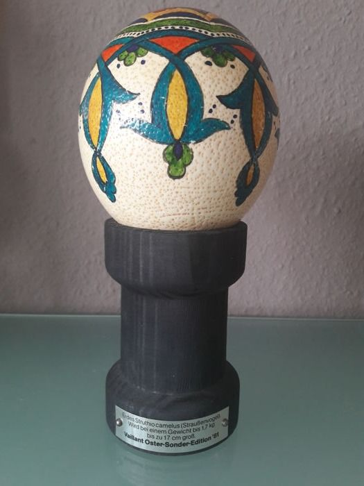 Decorative ostrich egg - hand painted - on wooden base