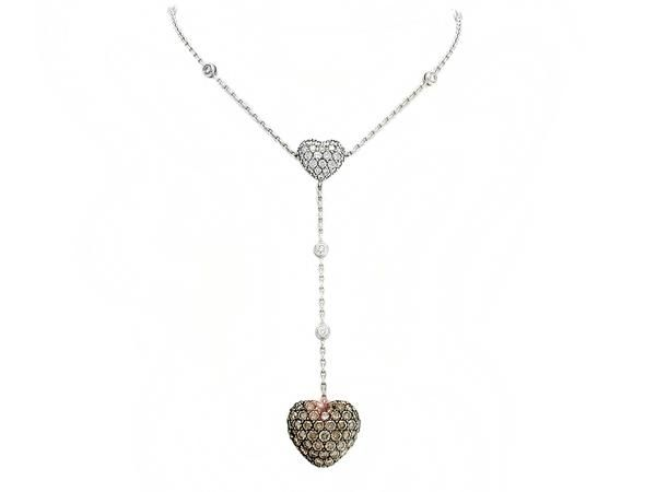 Chopard - Double heart necklace in white gold, white and brown diamonds, 6.88 ct - Collector's jewellery