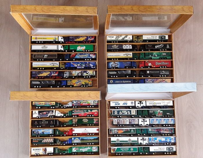 four collection boxes with 48 advertising trucks 1/87 from approx. 1994 to 2010 various companies