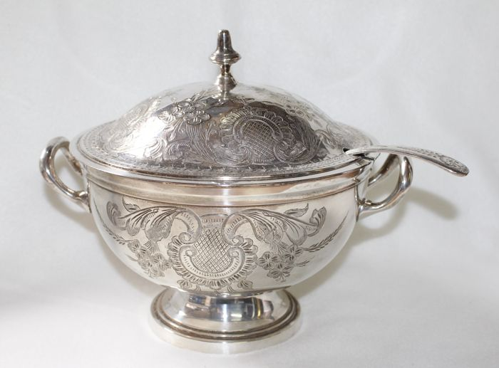 Antique heavily silver plated soup tureen with spoon