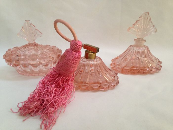 Three Pink Vanity Set - Bottles for Perfume and Powder - France - 1930 's