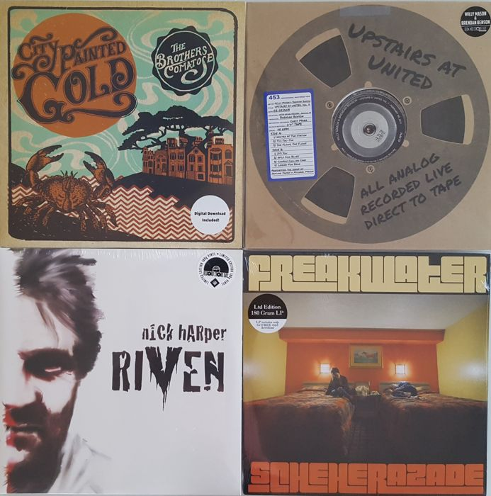 Country Folk Rock - Lot of 5xLP (Four Album) -  The Brothers Comatose ‎– City Painted Gold / Willy Mason & Brendan Benson ‎– Upstairs At United, Vol. 7 / Nick Harper ‎– Riven / Freakwater ‎– Scheherazade / Brand New and Sealed