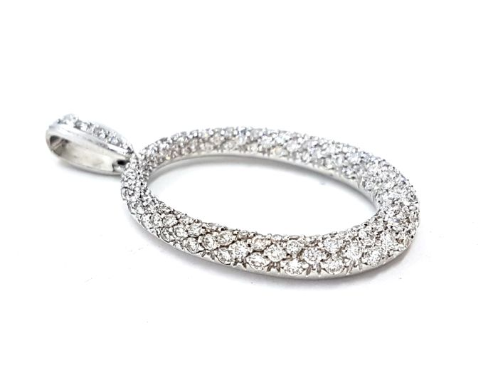 Pendant - 18 kt white gold - 1.30 ct Diamonds G-VS - Dimensions: 4.3 cm x 2.4 cm