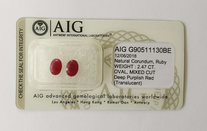 Couple of 2 Ruby Deep Purplish Red 2.47 ct *** No Reserve ***