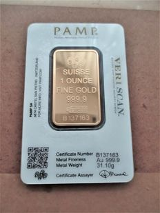 1 troy ounce gold bar Pamp Suisse