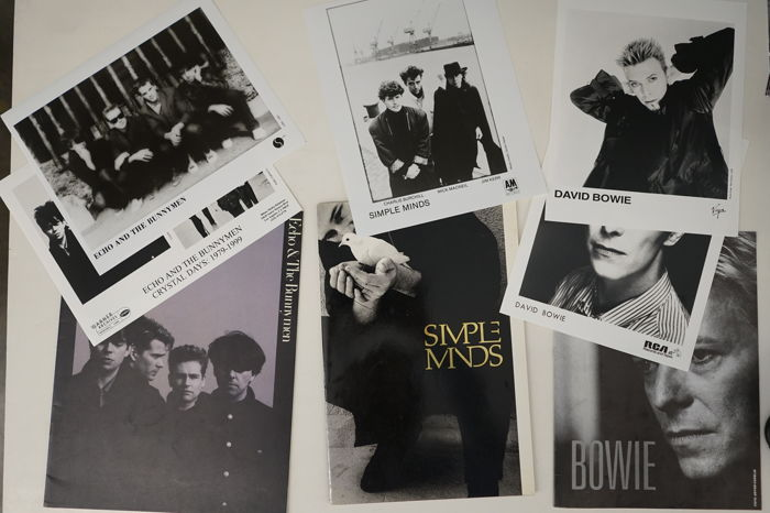 David Bowie, Simple Minds and Echo & The Bunnymen; books + press photo's