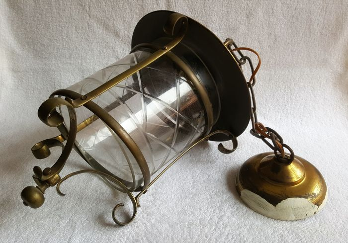 Ceiling Lamp Lantern Type With Bronze Tulip Bronze And Brass C1920 Catawiki