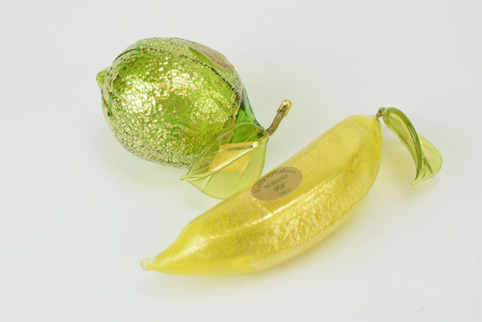 Lorenzo Ferro (Vetreria Ferro) - Set of Gold Leaf Fruit (2 pieces)