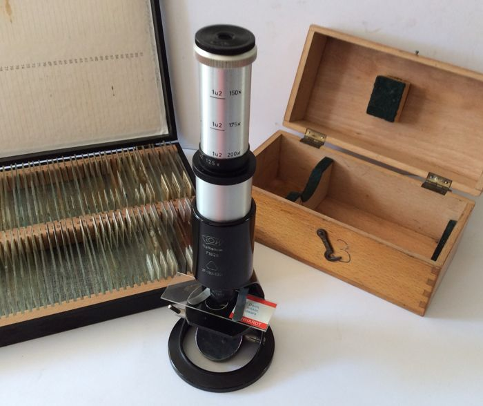 Student's microscope signed ROW, in original box