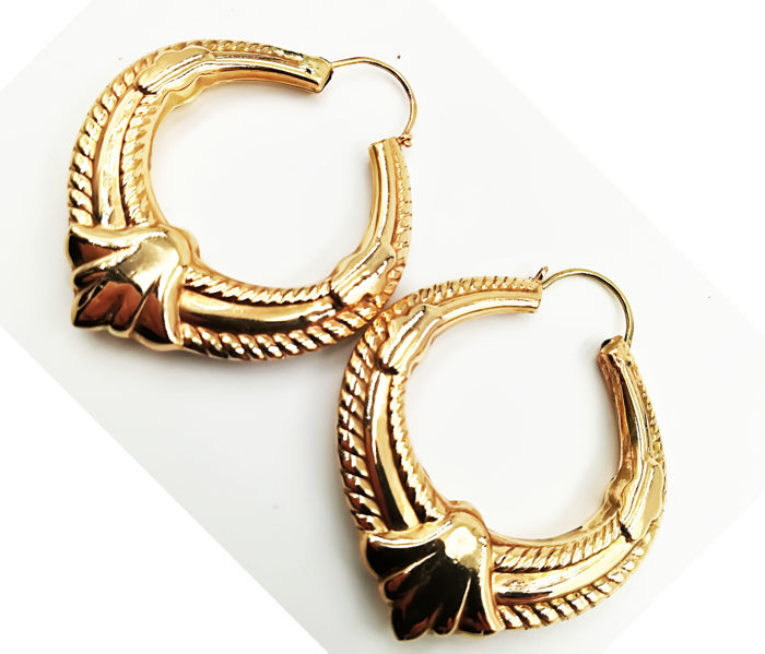 Women's 14 kt yellow gold embellished hoop earrings, diameter: 4.50 cm, total weight: 11.66 g