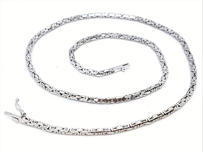 Necklace - 18 kt white gold - 4-faced links - Solid - Length 42 cm