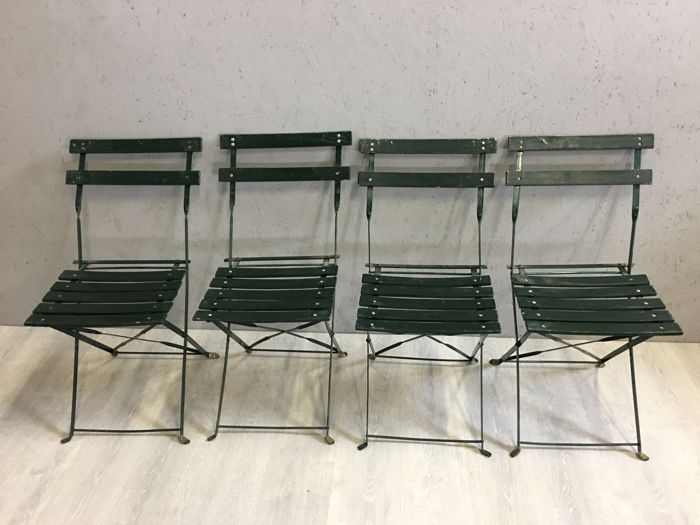 4 Bistro garden chairs - wrought iron - France