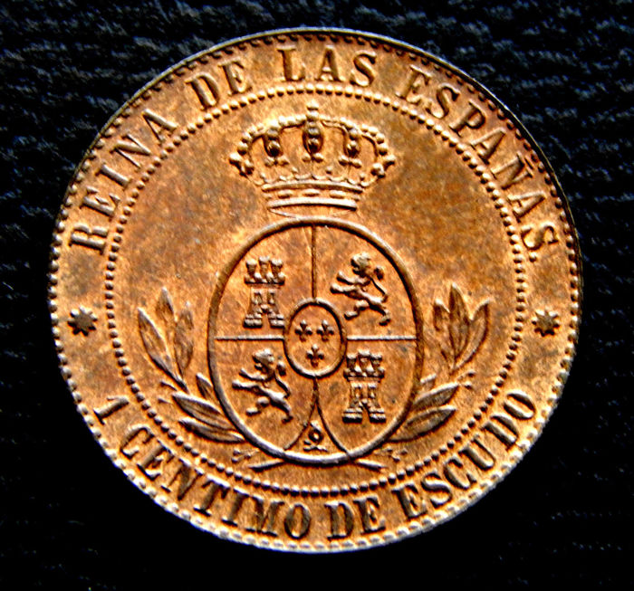 Spain - 1 Centimo 1866 sin OM - Isabel II - Rara