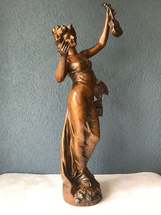 "Henryk Kossowski (1855-1921) - large zamak sculpture titled ""Musique"" - France - ca. 1890"
