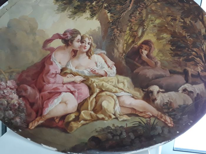 Oval painting on wood with a pastoral voyouarian scene - coming from a wall between windows, Louis XV style - middle 20th