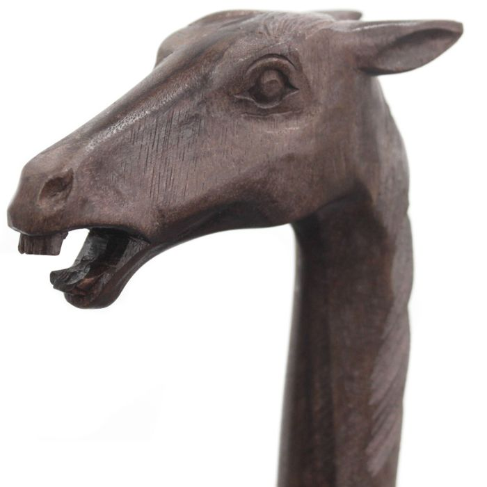 Hardwood walking stick with a horse's head