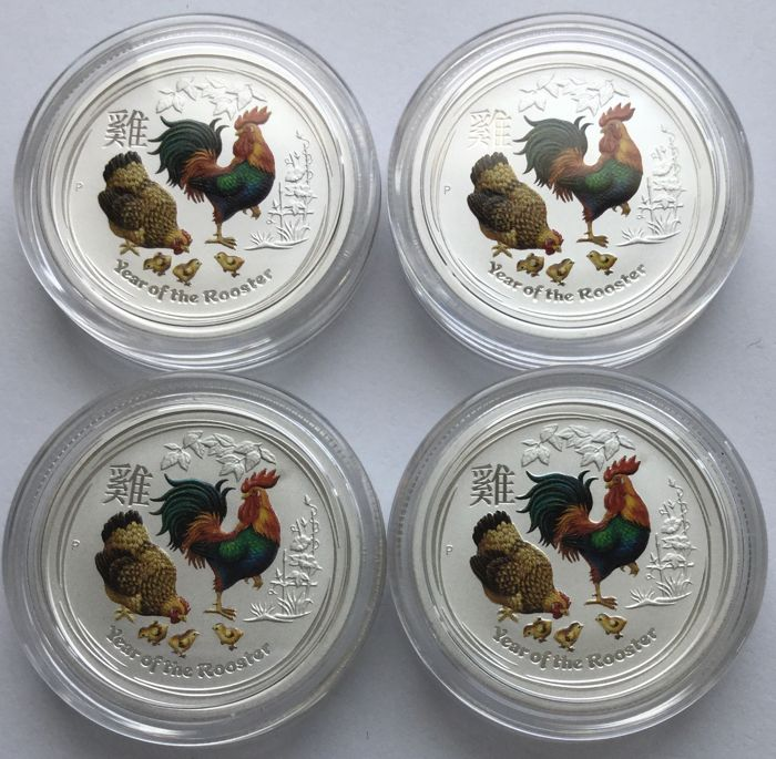 Australia - 4 x 0.25 AUD, 2017 - 4 x 1/4 oz Silver, coloured - (Lunar II - Year of the Rooster)